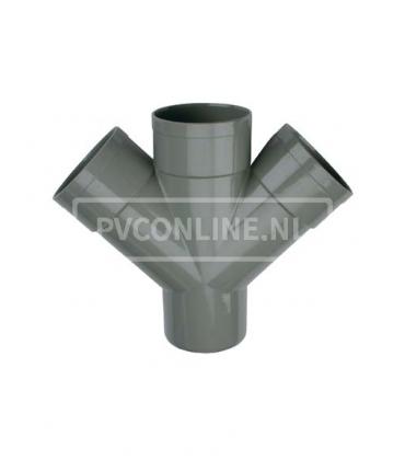 PVC Dubbel T-stuk 3 X LM/S 45*