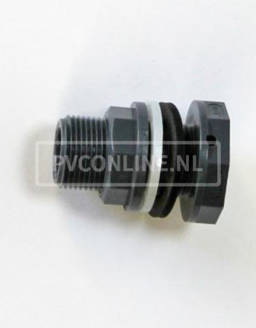 PVC HD DOORVOER 16 x 3/4 *VDL* 2X INW.16 AAN 1 KANT 3/4
