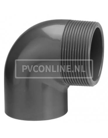 PVC KNIE 20 X 3/4 BUITENDRAAD PN 16