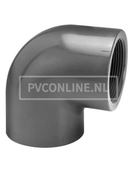 PVC KNIE 16 X 3/8 BINNENDRAAD PN 10
