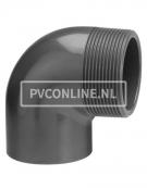 PVC KNIE 50 X1 1/2 BUITENDRAAD PN 10