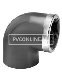 PVC KNIE 50 X1 1/2 BINNENDRAAD PN 16