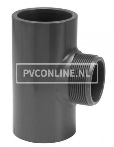PVC T-STUK 63 X 1 1/2 BUITENDRAAD PN16