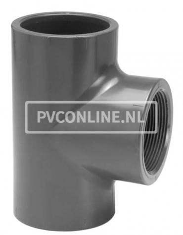 PVC T-STUK 50 X 1 1/2 BINNENDRAAD PN 10