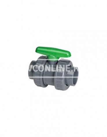 PVC KOGELKRAAN DIL 75X75 *VITON* GROENE HANDGREEP