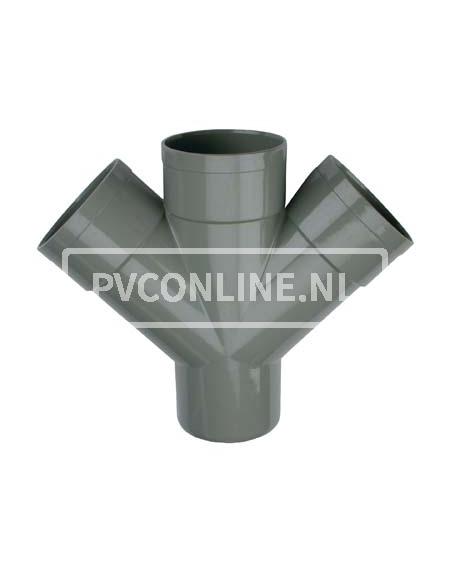 PVC DUBBEL T-STUK 3 X LM/S 160 45*