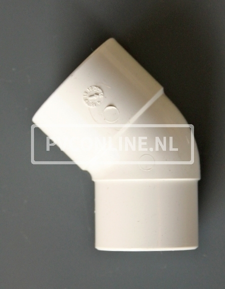 PVC BOCHT 1 X LM/S 50 45 WIT