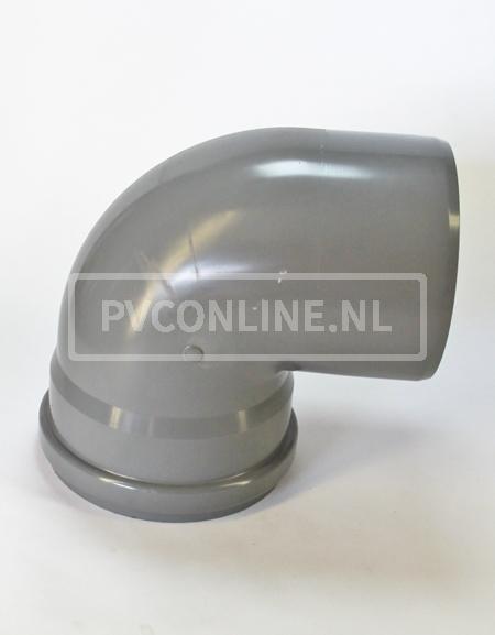 PVC BOCHT 1 X MA/S 250 KORT 90*